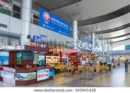 CAM RANH, VIETNAM - OCTOBER 8, 2015: Unidentified people dine at fast food cafes at the Cam Ranh International Airport. It serves the city of Nha Trang which is 30 km of the airport. - stock photo
