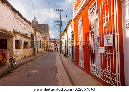 CAMAGUEY, CUBA - SEPTEMBER 4, 2015: Street view of UNESCO heritage city centre