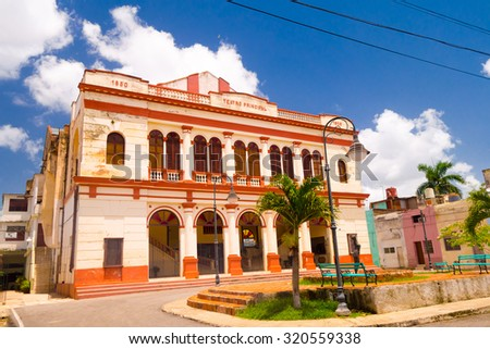 Camaguey, Cuba, Teatro Principal, old town listed on UNESCO World Heritage  - stock photo