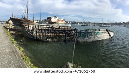 CAMARET SUR MER, FRANCE - AUGUST 19: boat cemetery with high tide in Camaret sur mer on August 19, 2016