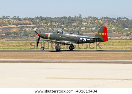 CAMARILLO/CALIFORNIA - AUGUST 22, 2015: Bell P-63C Kingcobra aircraft taxiing on runway at the Wings Over Camarillo Airshow in Camarillo, California USA