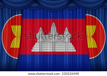 Cambodia, a member of the AEC members on curtain texture - stock photo