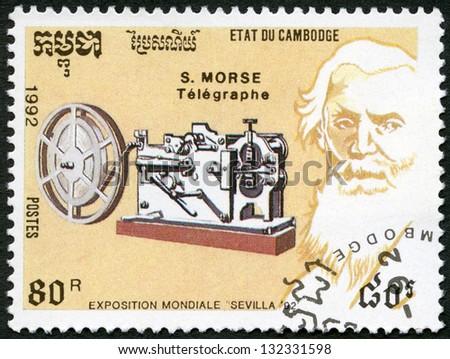 CAMBODIA - CIRCA 1992: A stamp printed in Cambodia shows Samuel Morse (1791-1872), telegraph, devoted EXPO-92 in Seville, circa 1992 - stock photo