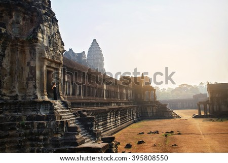 Cambodia Famous Landmark. World Largest Religious Monument, Prasat Angkor ( Nokor ) Wat Temple Complex, Siem Reap. Ancient Khmer Architecture. Tourist Attraction, Travel Destination In Asia. Heritage - stock photo