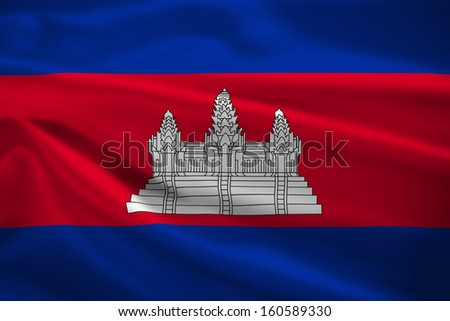 Cambodia flag blowing in the wind. Background texture. - stock photo