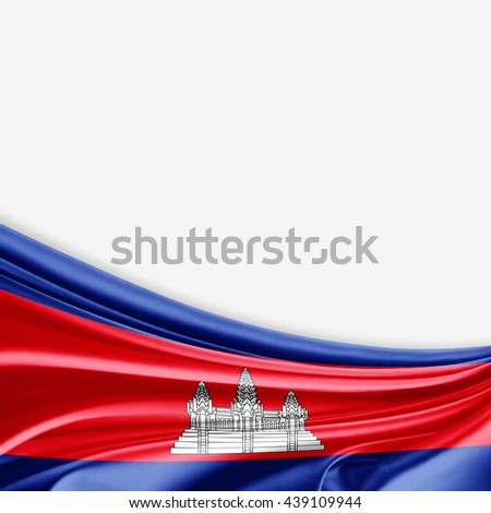 Cambodia flag of silk with copyspace for your text or images and white background-3D illustration