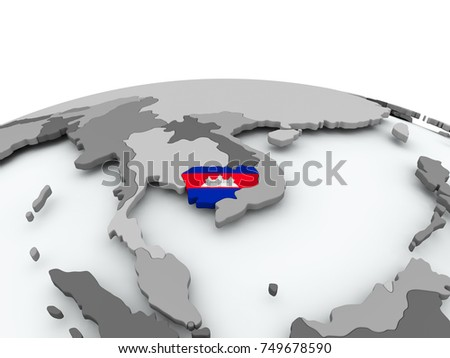 Cambodia on grey political globe with embedded flag. 3D illustration.