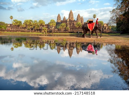 Cambodia, Siem Reap, Angkor wat khmer temple landscape photography with elephant. Travel to Asia   - stock photo