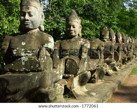 Cambodia temples - angkor wat - tourist site - face of budda