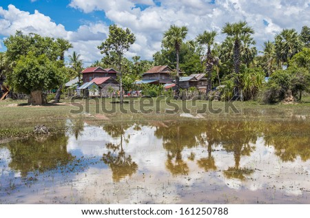 cambodia village - stock photo