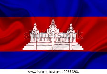 Cambodia waving flag - stock photo