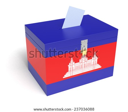 Cambodian Flag Ballot Box. Isolated white background. 3D Rendering. - stock photo