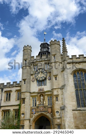 CAMBRIDGE, ENGLAND - MAY 13: Detail of the historical stone Clock Tower, Trinity College, Cambridge University, Cambridge, UK on May 13, 2015