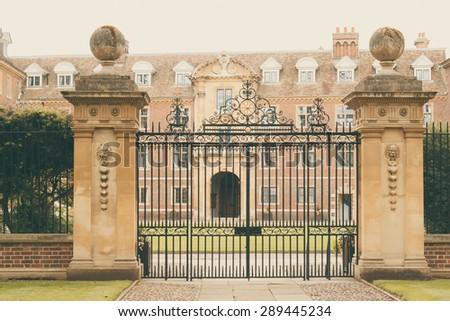 CAMBRIDGE, ENGLAND - 7 MAY 2015: Entrance to St Catherines' College, Cambridge University, England - stock photo