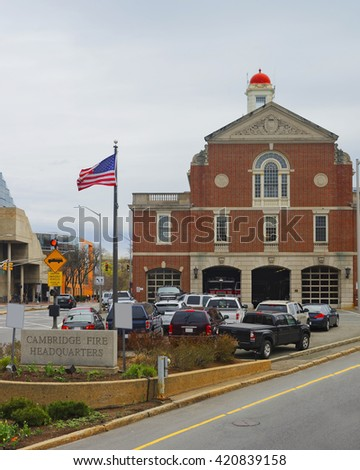 Cambridge Fire Headquarters of Harvard University in Cambridge, Massachusetts, MA, USA - stock photo