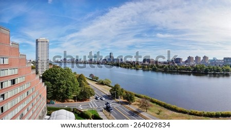 CAMBRIDGE, MA -CIRCA OCTOBER 2013- Editorial: A panoramic view of Boston along the Charles River taken from Memorial Drive in Cambridge near the Massachusetts Institute of Technology (MIT) campus.