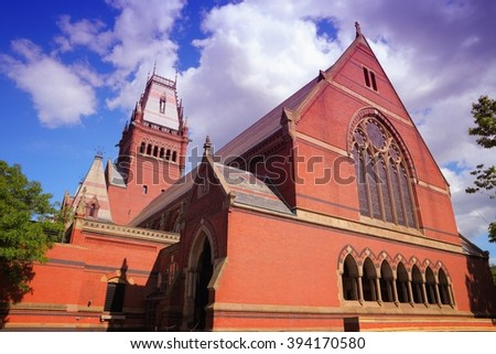 Cambridge, Massachusetts in the United States. Famous Harvard University - Memorial Hall. - stock photo