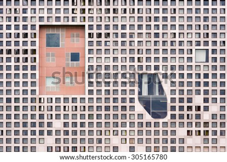 CAMBRIDGE, MASSACHUSETTS - JULY 26: Simmons Hall on the campus of Massachusetts Institute of Technology on July 26, 2015 in Cambridge, Massachusetts - stock photo