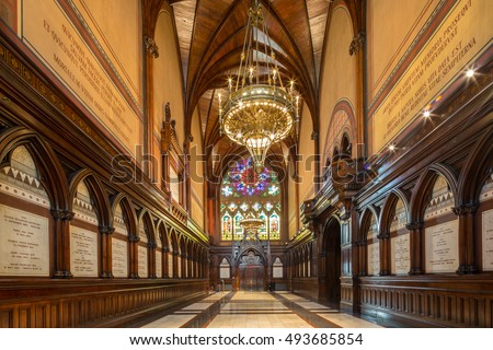 CAMBRIDGE, MASSACHUSETTS - October 4: Harvard University- Interior of  Memorial Hall on October 4, 2016 in Cambridge, Massachusetts