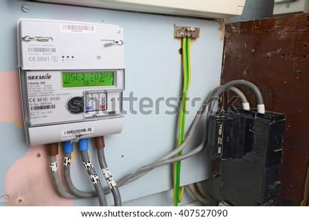 electric meter wiring diagram uk: cambridge uk april 18 2016 domestic stock  photo 407527090 ,