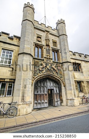 CAMBRIDGE, UK - AUGUST  15, 2014: Christ College. Cambridge is the home of the University of Cambridge, founded in 1209 and ranked one of the world's top five universities