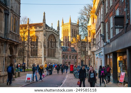 CAMBRIDGE, UK - JANUARY 18, 2015: Trinity street with st.  John college view - stock photo