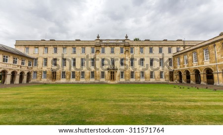 CAMBRIDGE, UK - JULY 22, 2015: Emmanuel College in the University of Cambridge, England. It was founded in 1584 by Sir Walter Mildmay, Chancellor of the Exchequer to Elizabeth I.