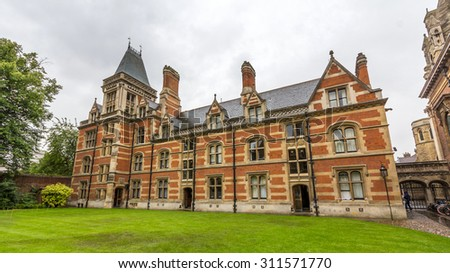 CAMBRIDGE, UK - JULY 24, 2015: Pembroke College in the University of Cambridge, England. It is the third-oldest college of the university and has over 700 students and fellows. - stock photo