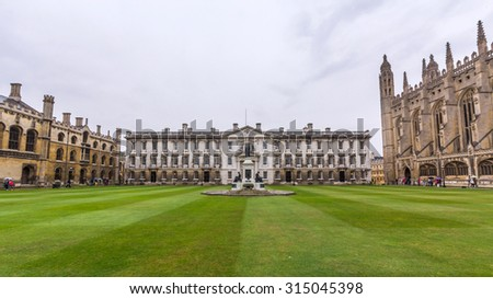 CAMBRIDGE, UK - JULY 24, 2015: The Gibbs' Building in the King's College of the University of Cambridge in England. It lies besides the River Cam and faces out onto King's Parade in the city centre. - stock photo
