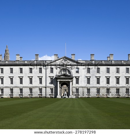 Cambridge, UK - March 22, 2015 - The Gibbs' Building of King's College, University of Cambridge. It's also one of local landmarks in Cambridge. - stock photo
