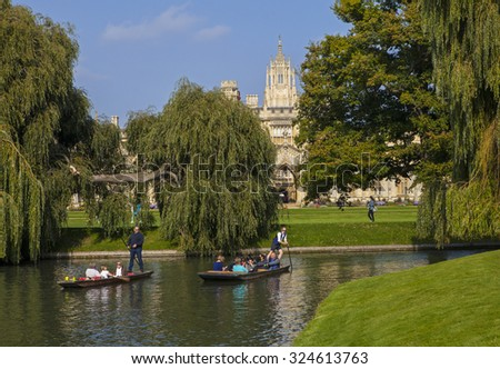 CAMBRIDGE, UK - OCTOBER 4TH 2015: A view of the back of St. Johns College and the River Cam in Cambridge, on 4th October 2015.