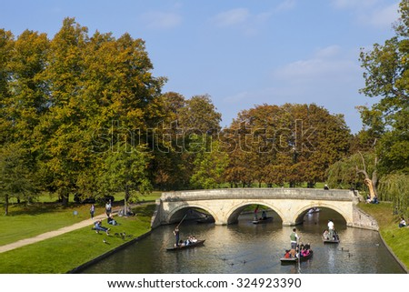 CAMBRIDGE, UK - OCTOBER 4TH 2015: A view over the River Cam looking towards Trinity Bridge in Cambridge, on 4th October 2015.