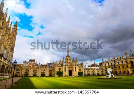 Cambridge University and Kings College Chapel  - stock photo