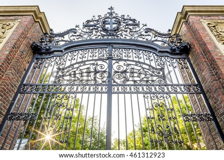 CAMBRIDGE, USA - JULY 30: The architecture of the acclaimed Harvard University in Cambridge, Massachusetts, USA showcasing its iron gate design on July 30, 2016.
