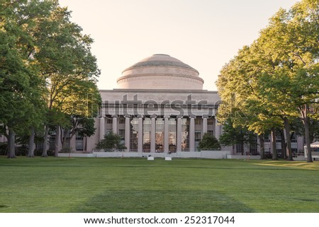 CAMBRIDGE, USA - MAY 29: Panorama of the main building of the famous Massachusetts Institute of Technology in Cambridge, MA, USA showcasing its neoclassic architecture on May 29, 2008. - stock photo