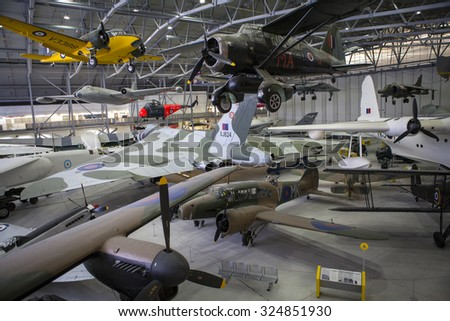 CAMBRIDGESHIRE, UK - OCTOBER 5TH 2015: Some of the aircraft on display at the Imperial War Museum Duxford in Cambridgeshire, on 5th October 2015. - stock photo