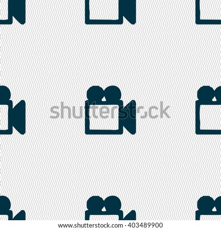 camcorder icon sign. Seamless pattern with geometric texture. illustration - stock photo