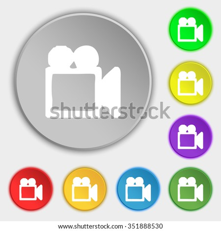camcorder icon sign. Symbol on five flat buttons. illustration - stock photo