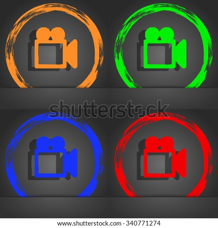 camcorder icon symbol. Fashionable modern style. In the orange, green, blue, green design. illustration - stock photo