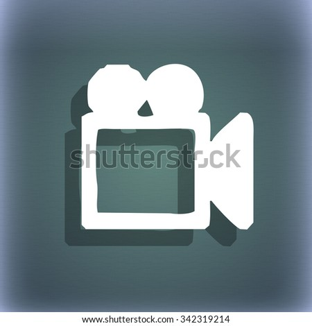 camcorder icon symbol on the blue-green abstract background with shadow and space for your text. illustration - stock photo