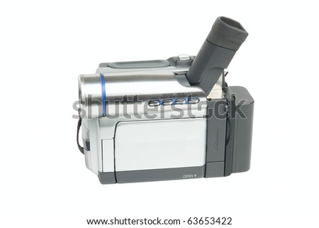 Camcorder isolated on white background - stock photo