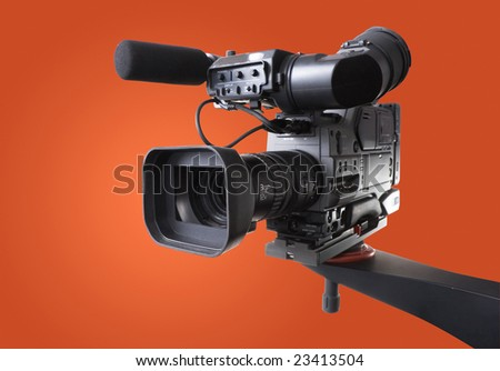camcorder on crane - stock photo