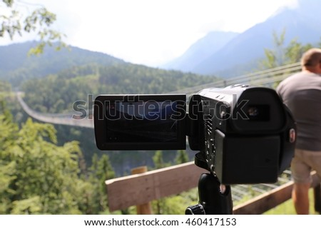 Camcorder recording in the austrian Alps