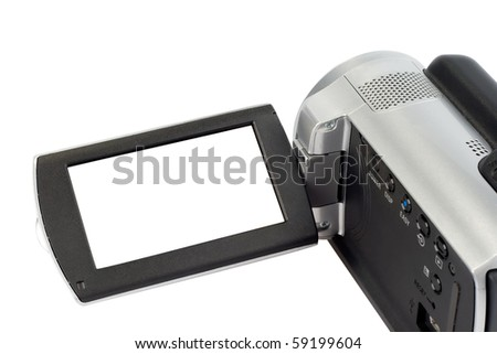 Camcorder with open lcd display - stock photo