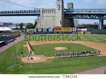 CAMDEN, NJ - MAY 25: Dayton (l) and LaSalle (r) University baseball teams line up prior to an opening round game in the Atlantic 10 Baseball Championships May 25, 2011 in Camden, NJ.
