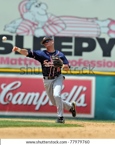 CAMDEN, NJ - MAY 25: University of Richmond shortstop J.B. Gedd throws the ball to first during an opening round game in the Atlantic 10 Baseball Championships on May 25, 2011 in Camden, NJ. - stock photo