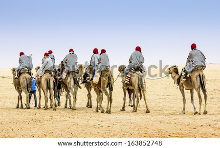 Camel Caravan in the Sahara desert, Tunisia, Africa - stock photo