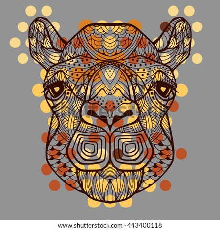 Camel in zentangle style. African tribal pattern. Head of a camel. Image technique big circles, dots, colorful mosaic. Wild animal head - brown yellow color with a black outline. Animal logo. - stock photo