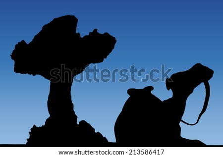 camel silhouette under a tree in an oasis with blue sky