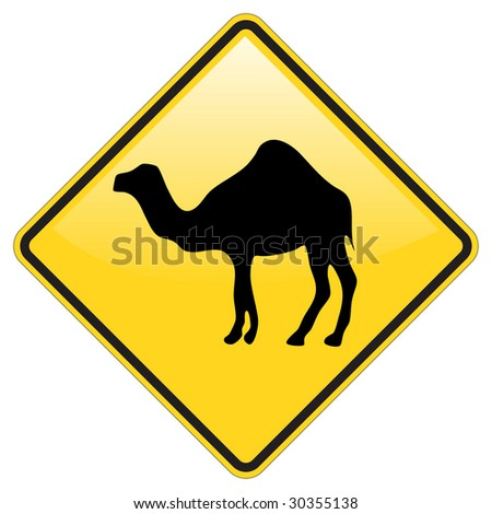 Camel Warning sign with glossy effect